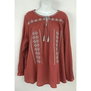 Beach Lunch Lounge Coral Embroidered Tassel Long